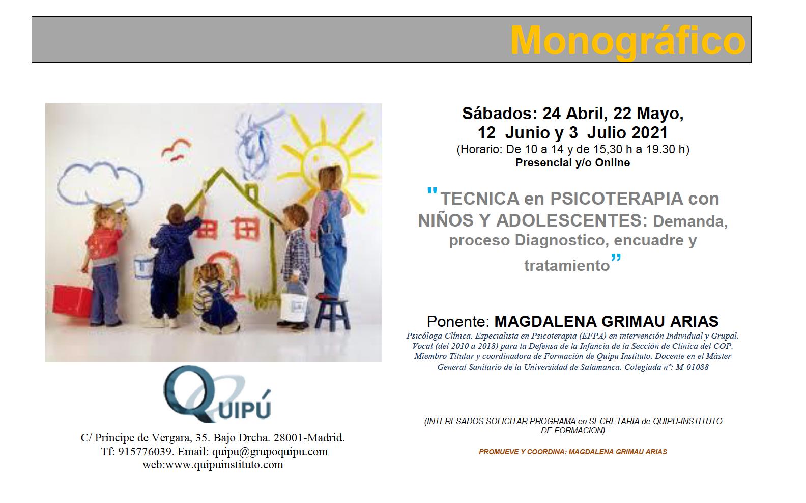 cartel curso monográfico técnica en psicoterapia con niños y adolescentes Quipú formación psicólogos